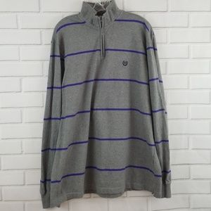 Chaps 1/4 Zip Cotton Striped Pullover Sweater